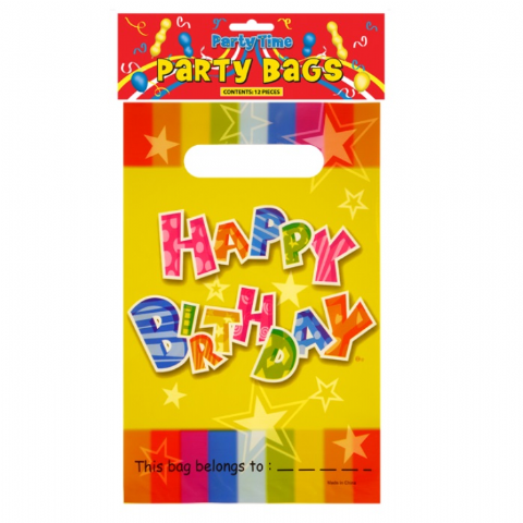 200 x Plastic Happy Birthday Loot / Birthday Party Bags (25 x Packs of 8)